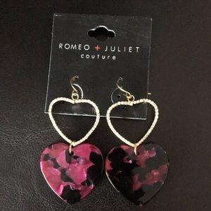 Romeo & Juliet Double Hearts Crystal Orchid Earri